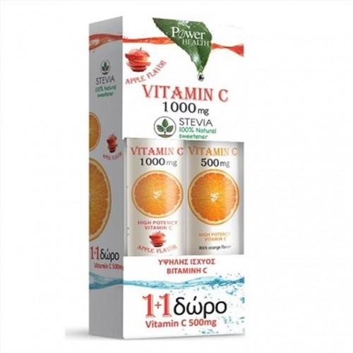 POWER HEALTH VITAMIN C 1000mg APPLE 24s STEVIA + ΔΩΡΟ VITAMIN C 500mg 20s